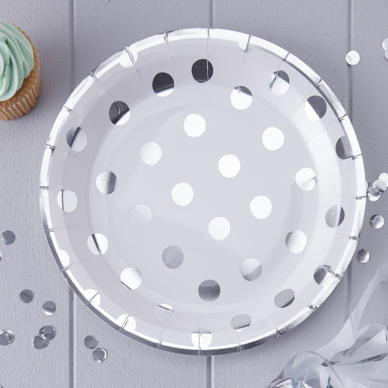 Polka Dot Paper Plates -Silver Foil, GR-Ginger Ray UK, Putti Fine Furnishings