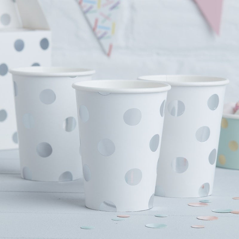 Polka Dot Paper Cups  - Silver Foil, GR-Ginger Ray UK, Putti Fine Furnishings