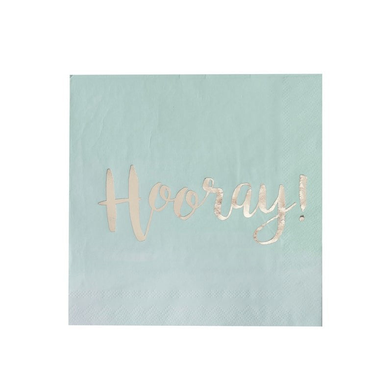Mint Ombre & Gold Foiled Hooray Paper Napkins, GR-Ginger Ray UK, Putti Fine Furnishings