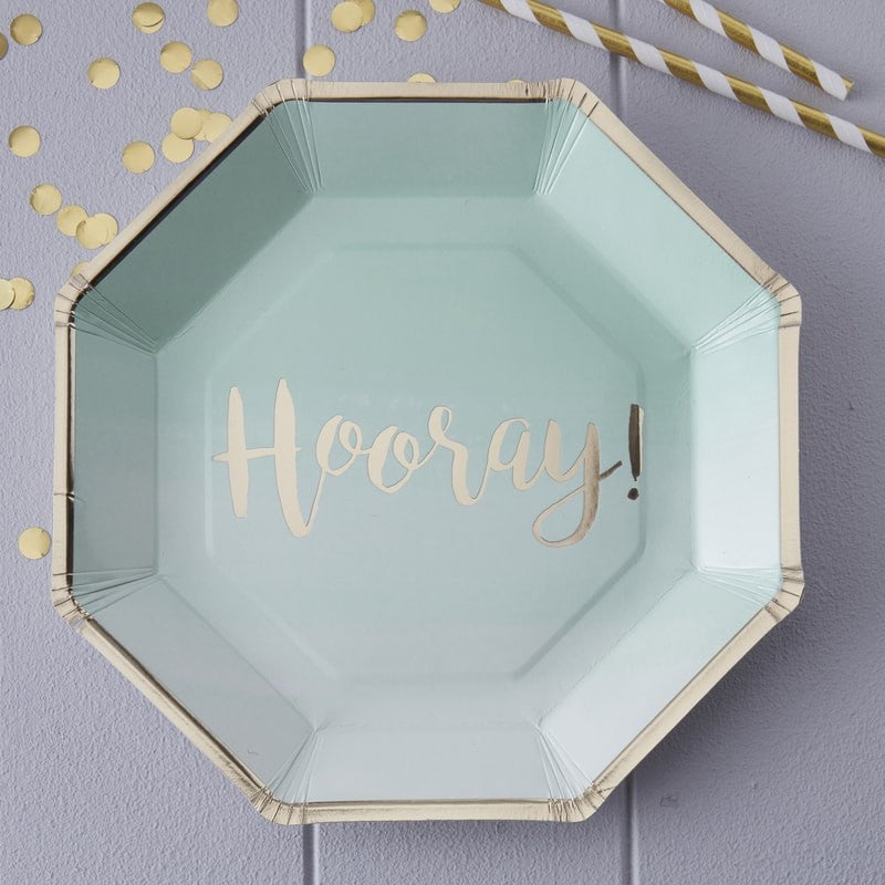 Mint Ombre & Gold Foiled Hooray Paper Plates