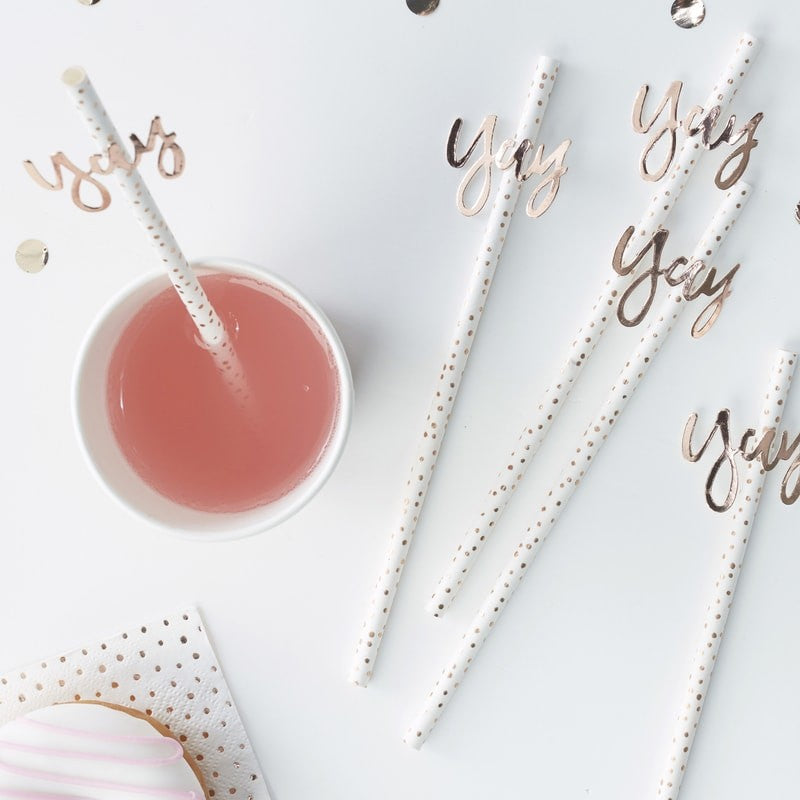 "Rose Gold ""Yay"" Foiled Paper Straws"