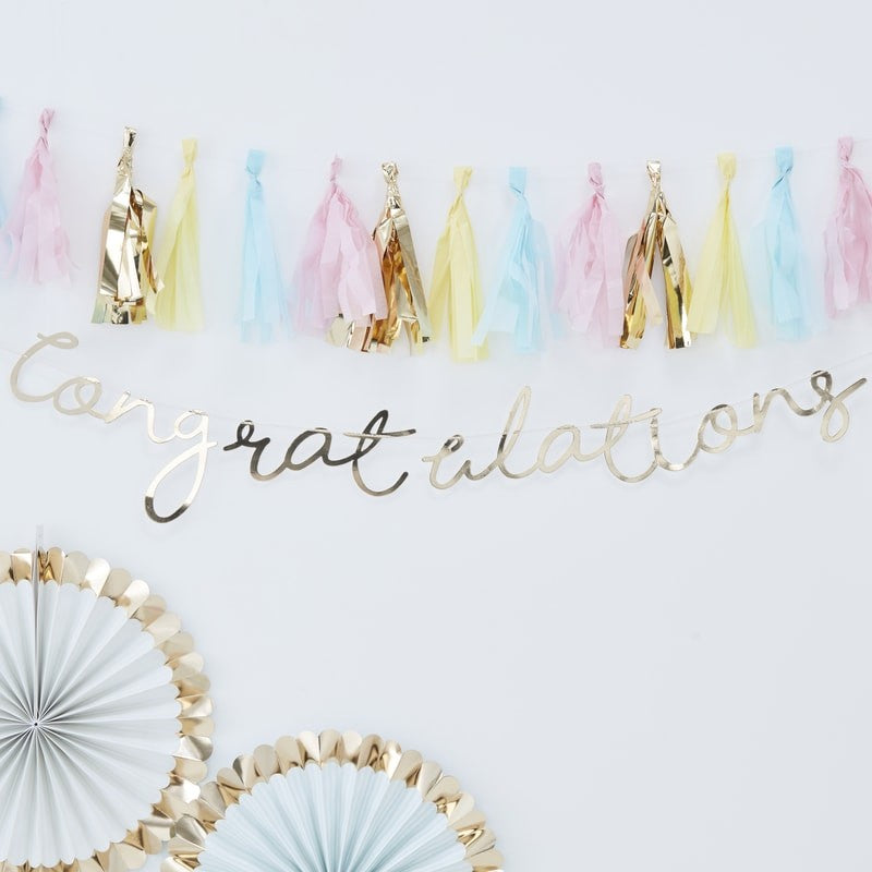 "Gold Foiled ""Congratulations"" Banner, GR-Ginger Ray UK, Putti Fine Furnishings"