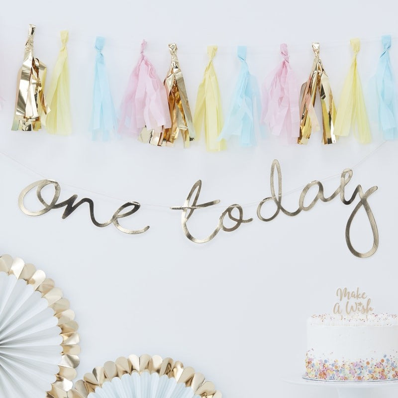 "Gold Foiled ""One today"" Banner"