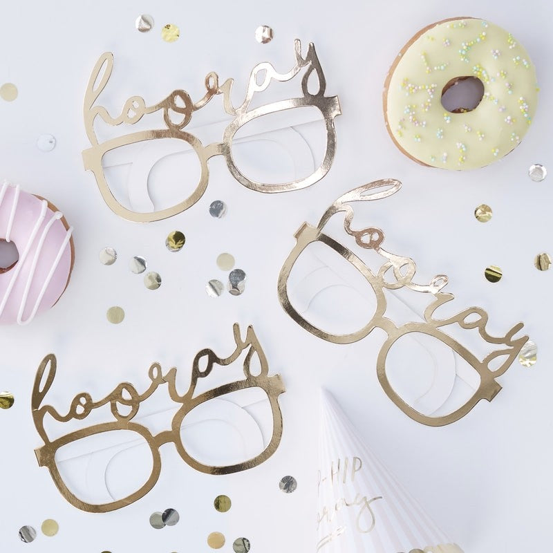 "Gold Foil ""Hooray"" Fun Glasses, GR-Ginger Ray UK, Putti Fine Furnishings"
