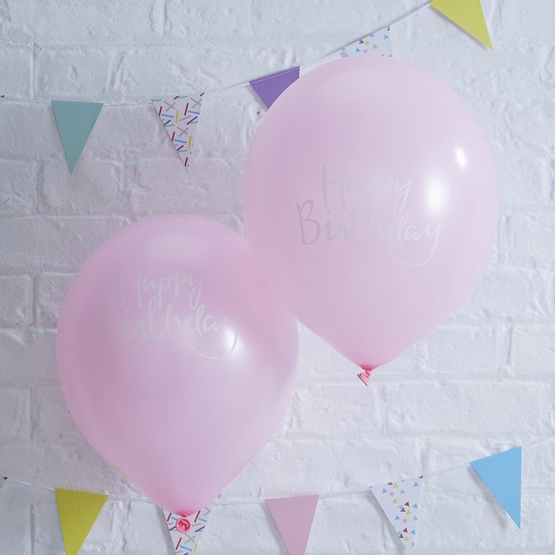 """Happy Birthday"" Pink Script Balloon"