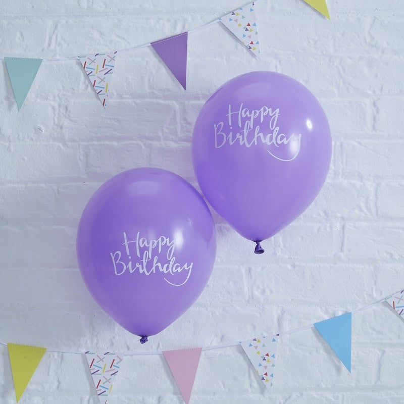"""Happy Birthday"" Purple Script Balloon - Balloon Party Supplies - Ginger Ray UK - Putti Fine Furnishings Toronto Canada - 1"