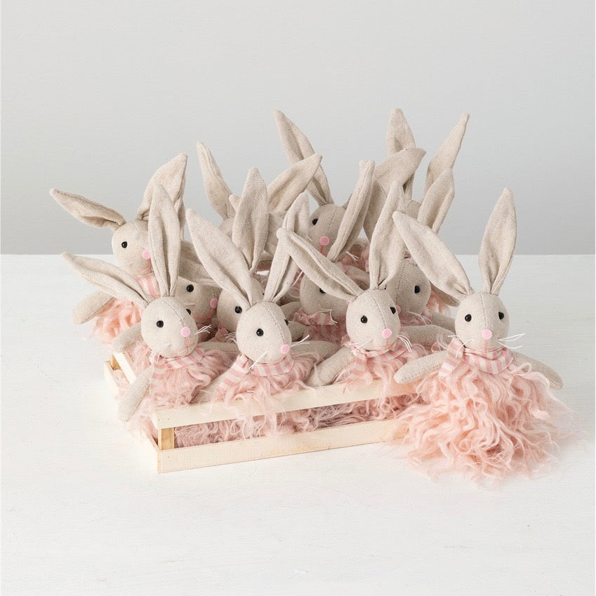 Linen Rabbit with Pink Fur