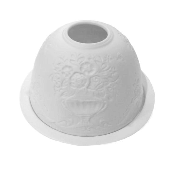 White Bisque Domed Tea Light Holder - Flower Vase