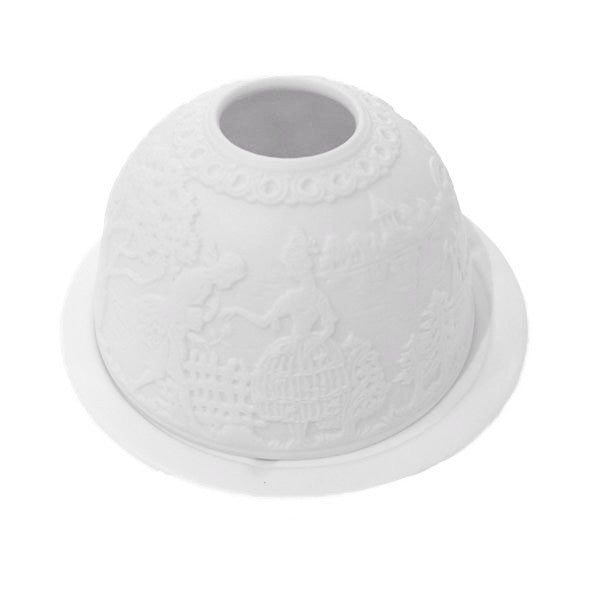 White Bisque Domed Tea Light Holder - Courtship
