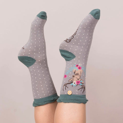 "Powder ""Stag"" Ankle Socks - Slate-Personal Accessories-PDL-Powder Design Limited-Putti Fine Furnishings"