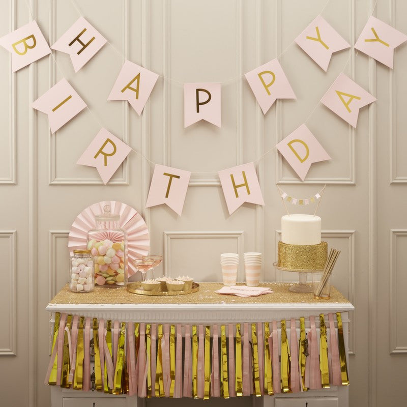 "Pink and Metallic Gold ""Happy 1st Birthday"" Bunting, GR-Ginger Ray UK, Putti Fine Furnishings"