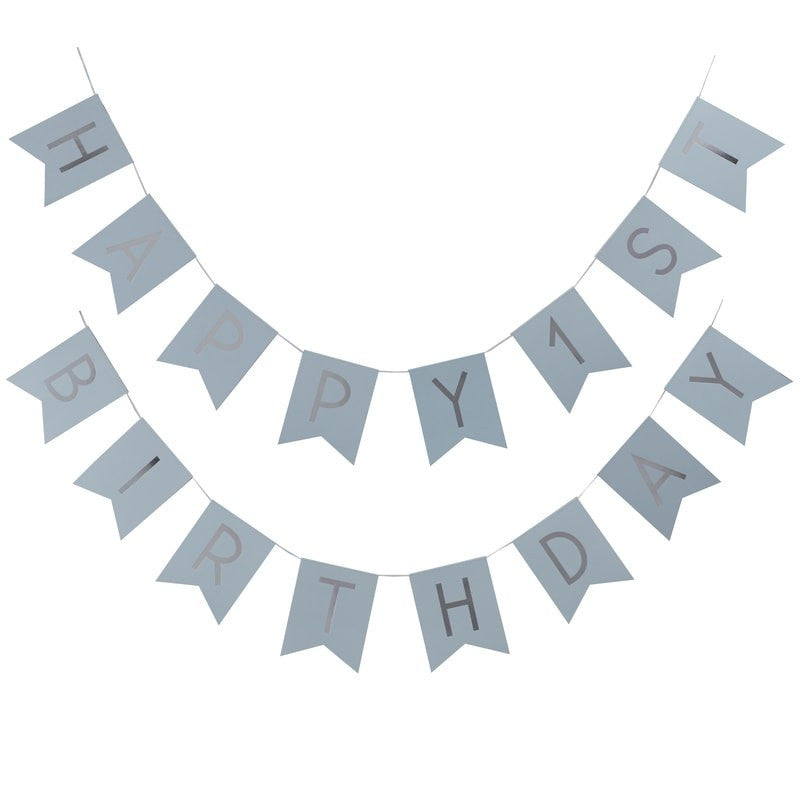 "Blue and Metallic Silver ""Happy 1st Birthday"" Bunting"