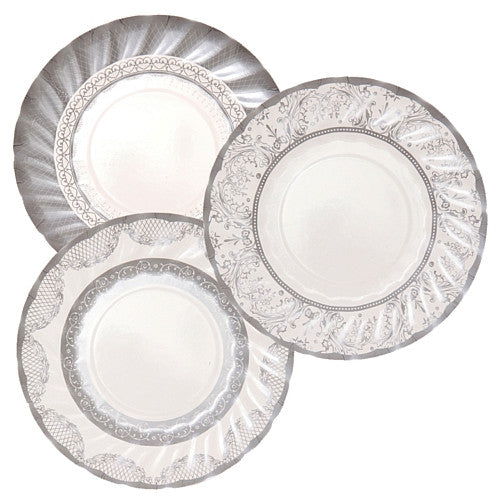 Party Porcelain Silver Small Paper Plates -  Party Supplies - Talking Tables - Putti Fine Furnishings Toronto Canada - 1