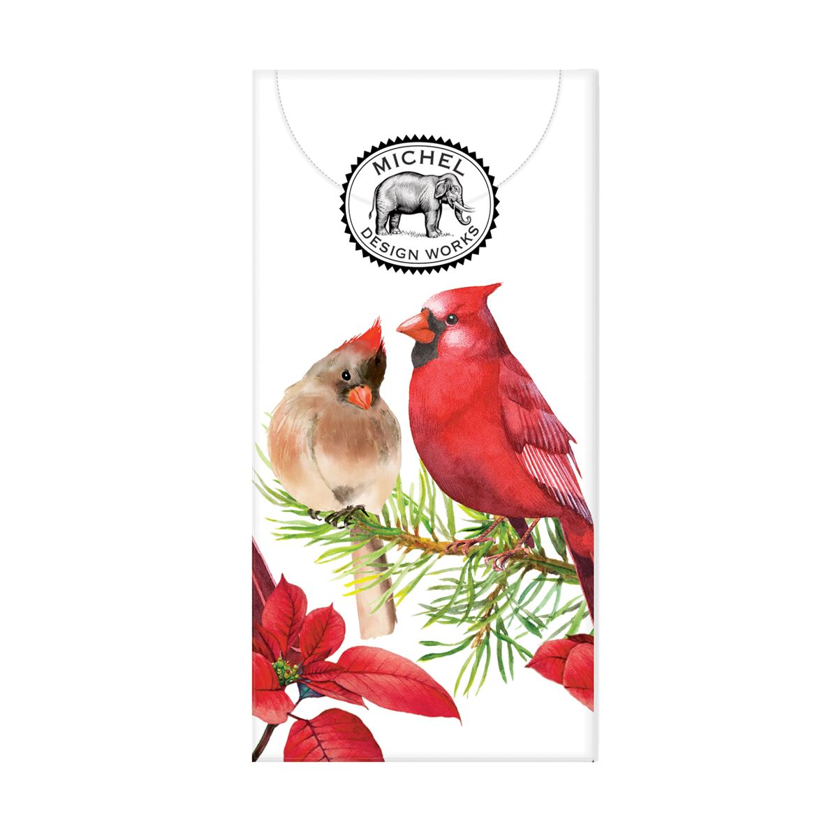 Michel Design Works Poinsettia Cardinals Pocket Tissues | Putti Christmas Canada