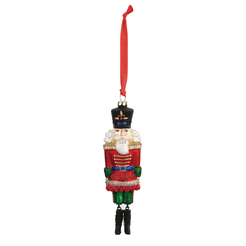 Demdaco Nutcracker Blown Glass Christmas Ornament | Putti Christmas