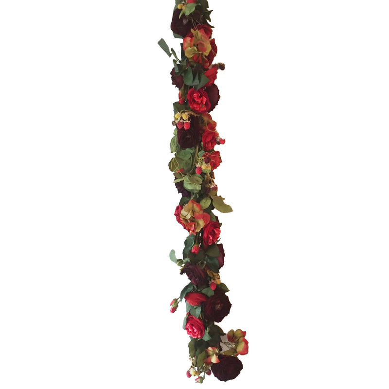 Raspberry and Red Roses Garland -  Artificial Flowers - Aldick - Putti Fine Furnishings Toronto Canada