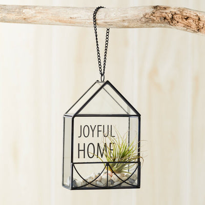 "Demdaco Leaded Glass ""Joyful Home"" House Ornament with Chain 