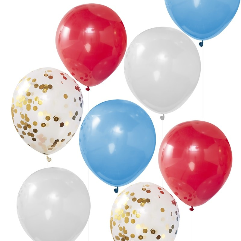 """Party Like Royalty"" Red White Blue and Gold Confetti Balloons"