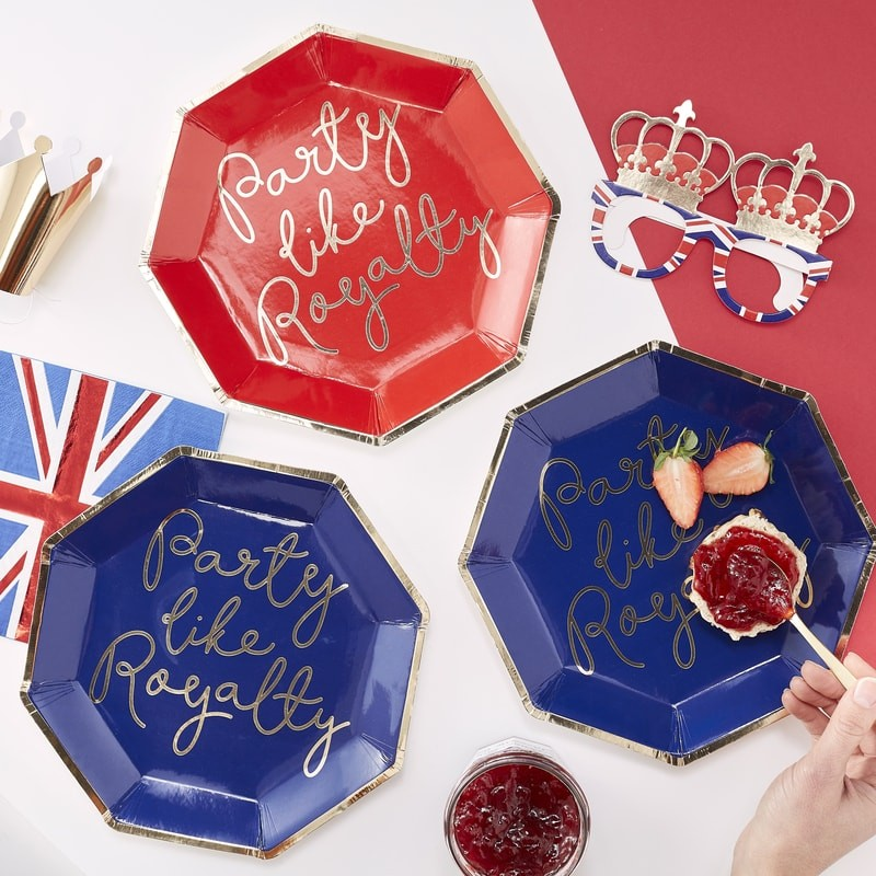 """Party Like Royalty"" Red & Blue Paper Plates"