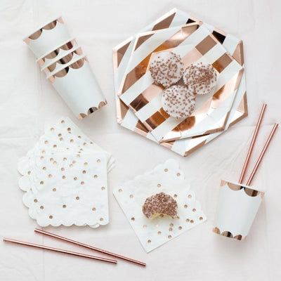 Rose Gold Foil Confetti Paper Napkins - Small -  Party Supplies - Meri Meri UK - Putti Fine Furnishings Toronto Canada - 2