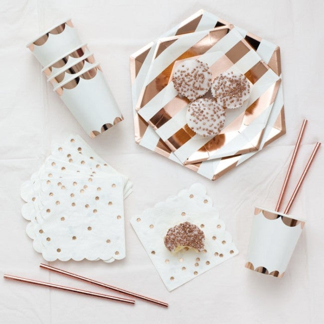 Rose Gold Foil Striped Plates - Small, MM-Meri Meri UK, Putti Fine Furnishings