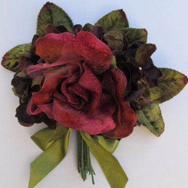 Miss Rose Sister Violet Victorian Rose Posy - Burgundy & Purple, MRSV-Miss Rose Sister Violet, Putti Fine Furnishings