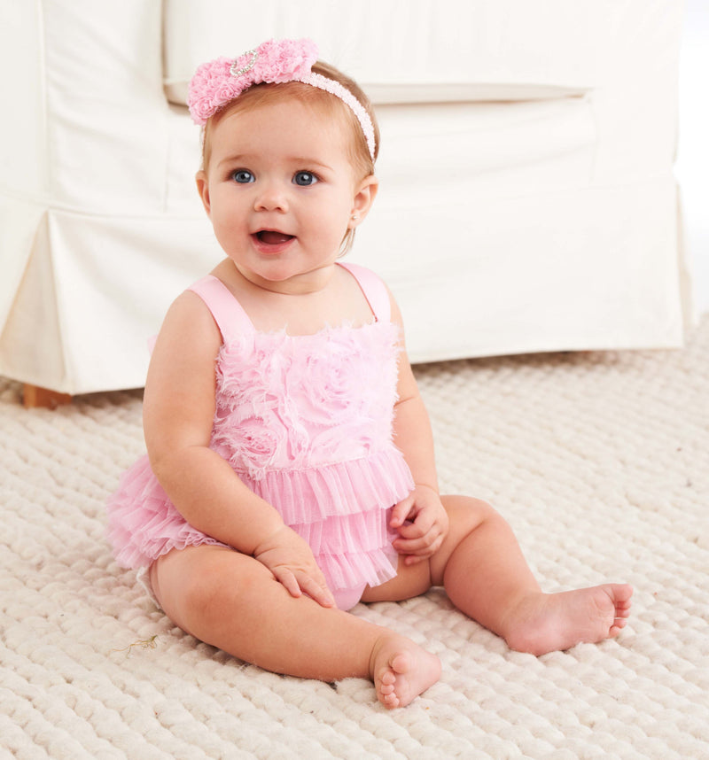 Pink Chiffon Rosette Bubble, MP-Mud Pie, Putti Fine Furnishings