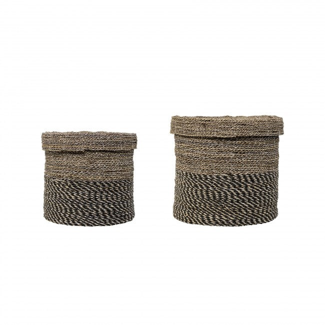 Bloomingville Round Seagrass Baskets with Lid, BV-Bloomingville, Putti Fine Furnishings