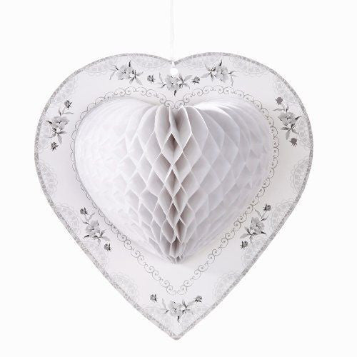 Honeycomb Heart  - White -  Party Decorations - Talking Tables - Putti Fine Furnishings Toronto Canada - 1