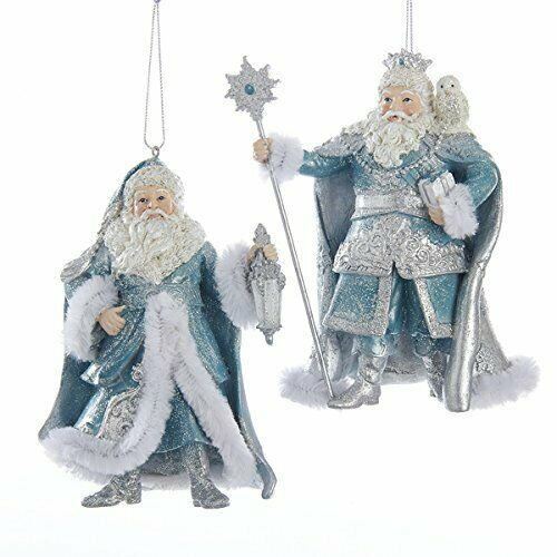 Kurt Adler Platinum and Teal Santa Ornament | Putti Christmas Decorations