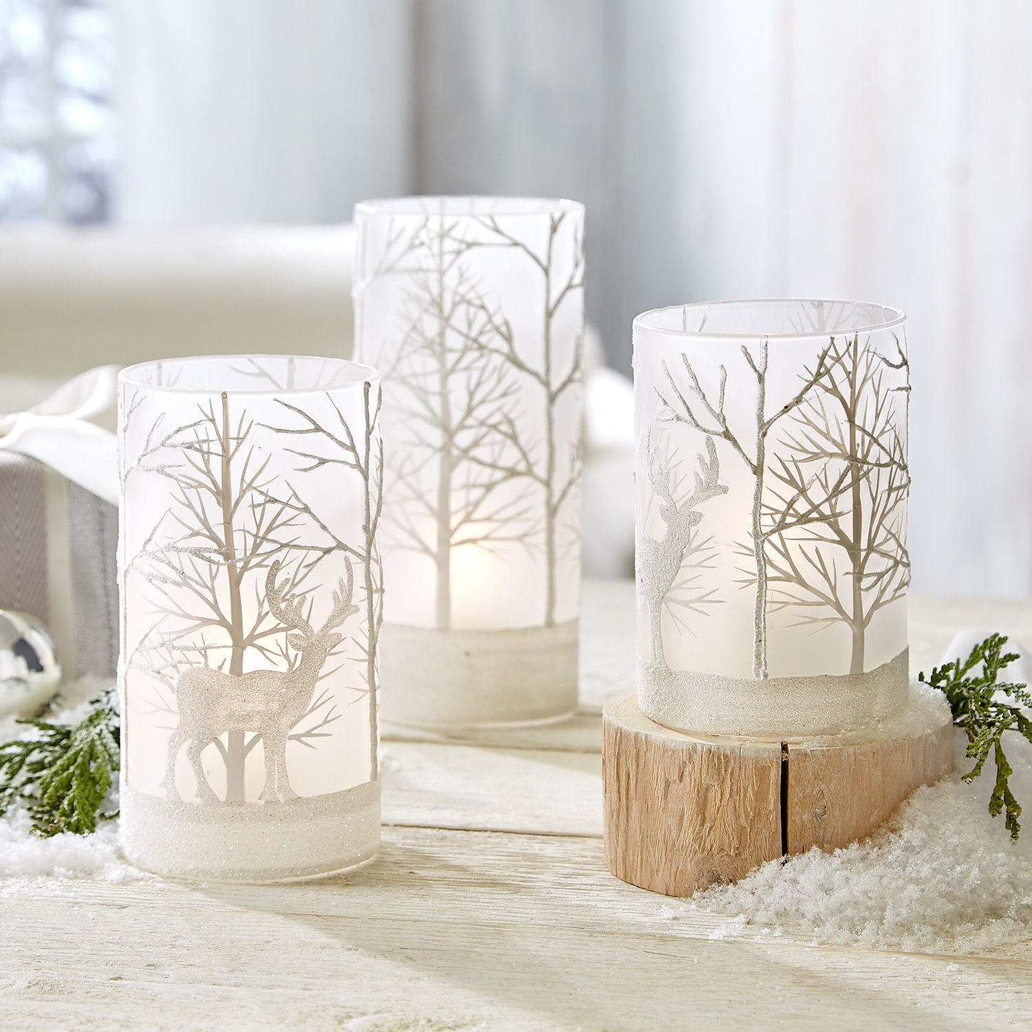 Frosted Votive Holders with Deer, TC-Two's Company, Putti Fine Furnishings