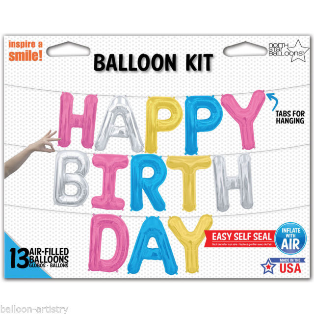 """Happy Birthday"" Balloon Banner - Multi, BM-Balloon Market, Putti Fine Furnishings"