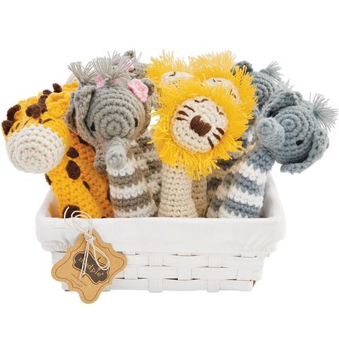 """Safari"" Crochet Rattle, MP-Mud Pie, Putti Fine Furnishings"