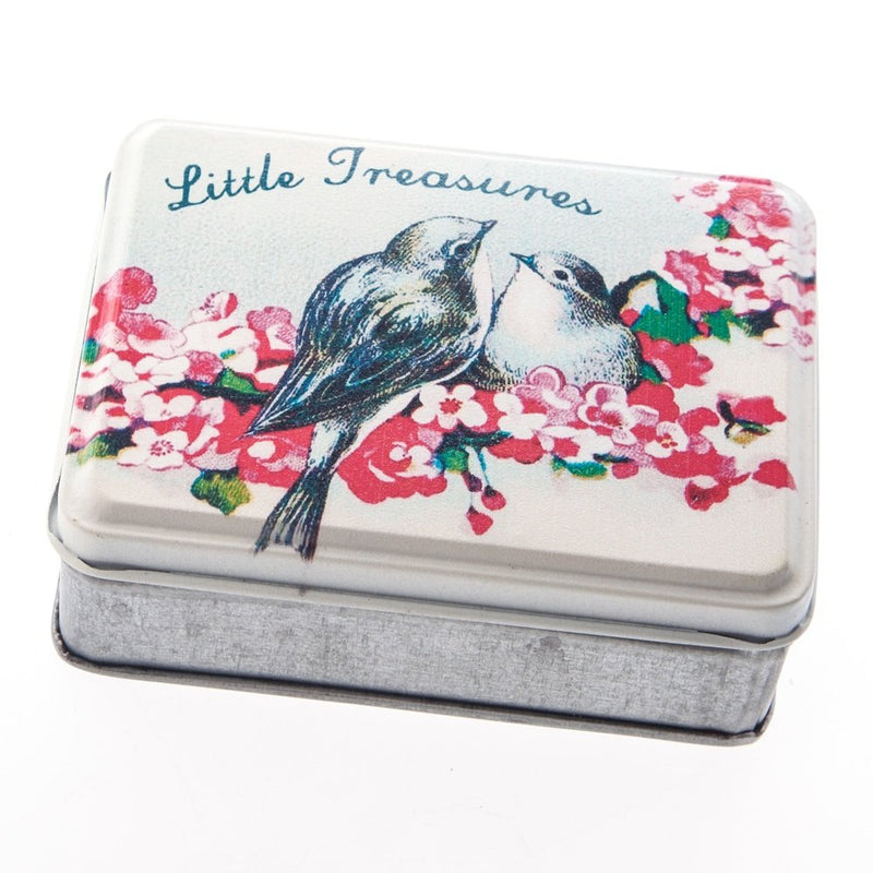 """Little Treasures"" Floral Bird Tin"