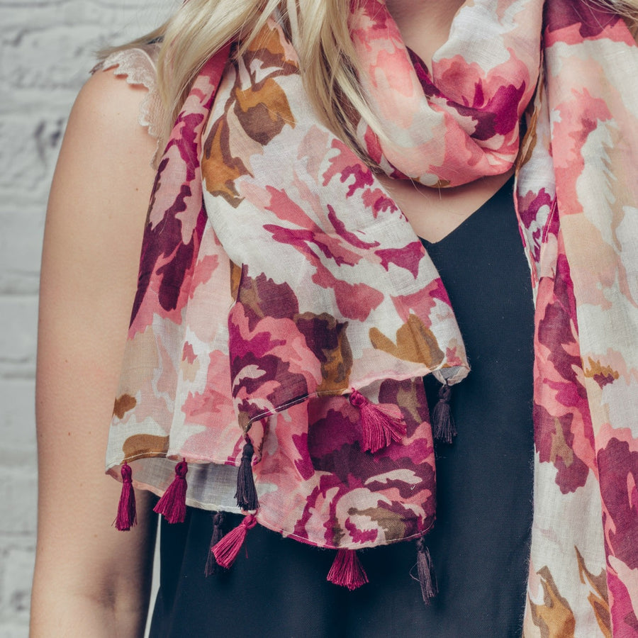 "Hazel & Pip ""Scarlet"" Floral Scarf with Tassels, F&J-F & J Collection, Putti Fine Furnishings"