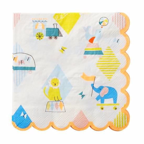 Silly Circus - Large Paper Napkins -  Party Supplies - Meri Meri UK - Putti Fine Furnishings Toronto Canada - 1