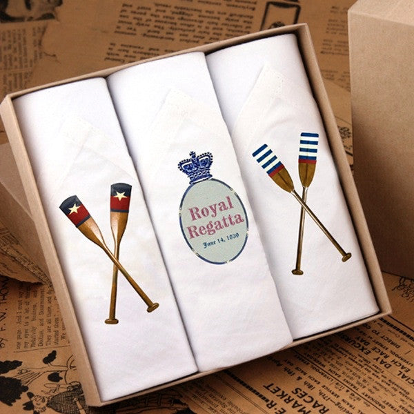 "Tamielle ""Rowing"" Box of Three Men's Hankies -  Personal Accessories - Tamielle - Putti Fine Furnishings Toronto Canada - 1"