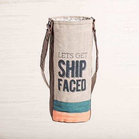 Recycled Canvas Wine Bottle Bag - Ship Faced