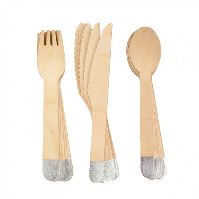 Wooden Cutlery Set - Silver
