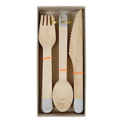 Wooden Cutlery Set - Silver -  Party Supplies - Meri Meri UK - Putti Fine Furnishings Toronto Canada - 2