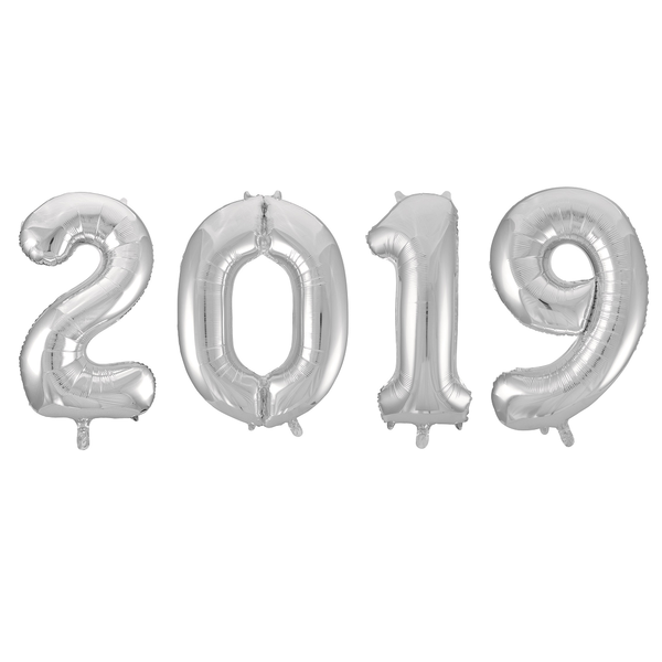 "Silver Foil Number Balloon 16"" - 2019"