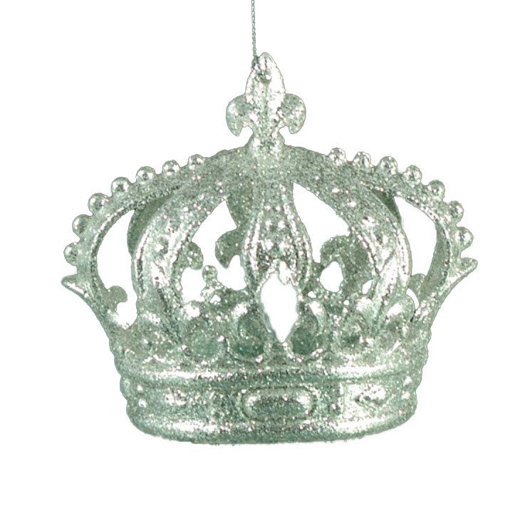 Silver Glittered Crown Ornament