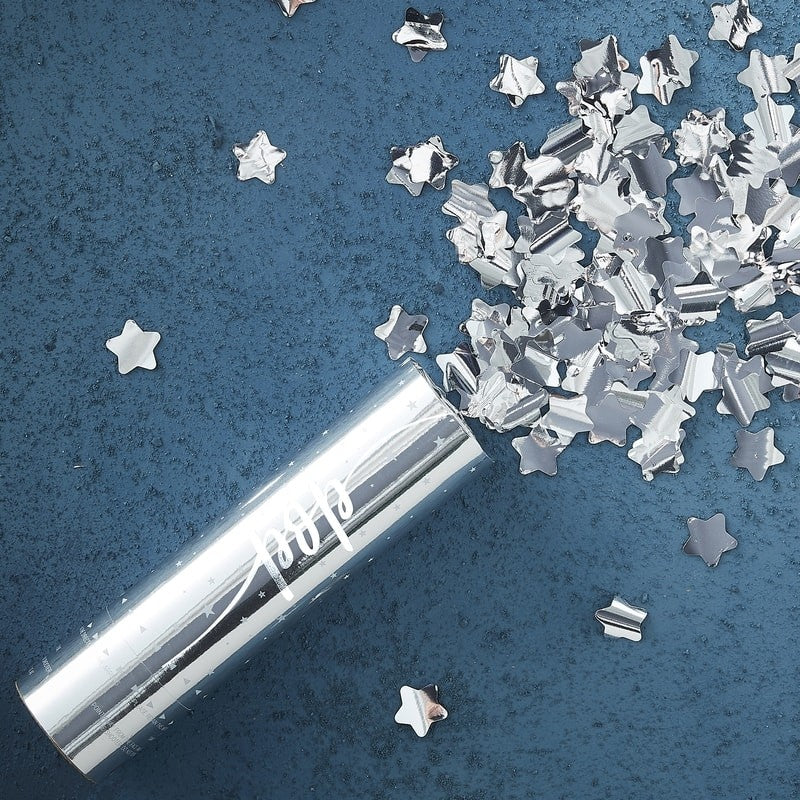 Silver Star Compressed Air Confetti Cannon Popper - Le Petite Putti