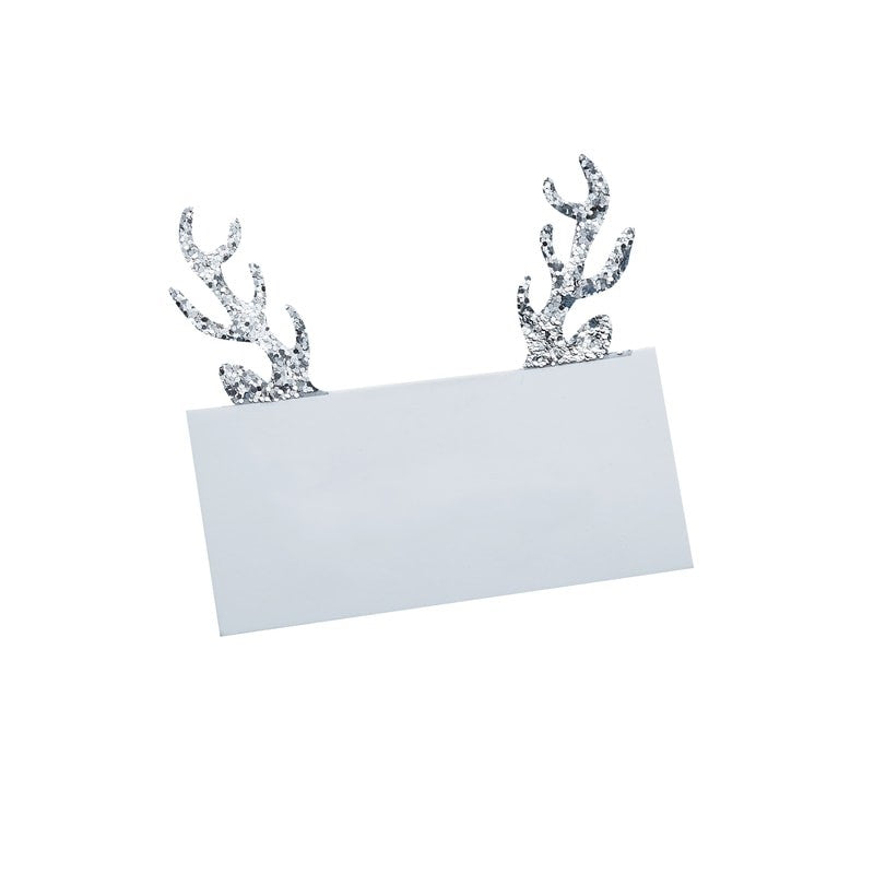 Ginger Ray Silver Glitter Antler Placecards  | Putti Canada