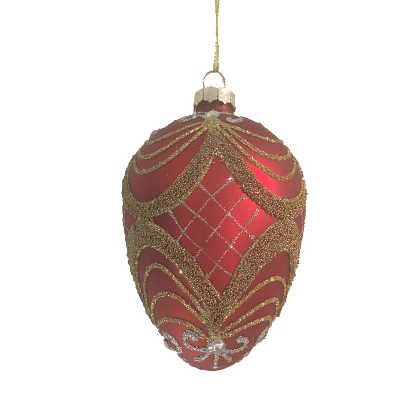 Red Glass Egg Ornament  with Formal Swags - Small, FDF-Fil de Fer Enterprises, Putti Fine Furnishings