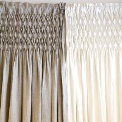 Smocked Linen Curtains-Curtain-Pom Pon at Home-Flax Linen-Putti Fine Furnishings