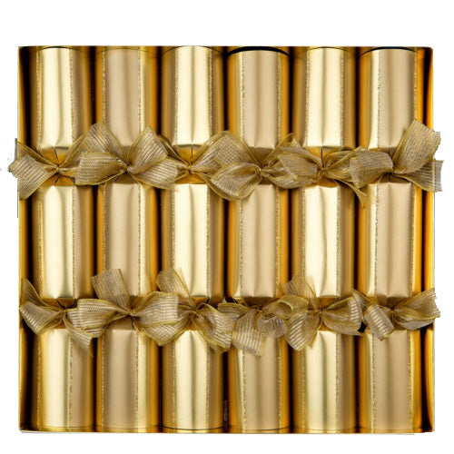 """Gold Symphony"" Metallic Gold Christmas Crackers"