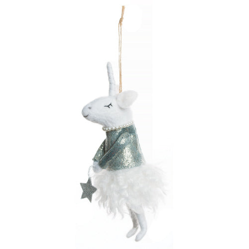Felt Unicorn Ornament with Lame Top | Putti Christmas Celebrations