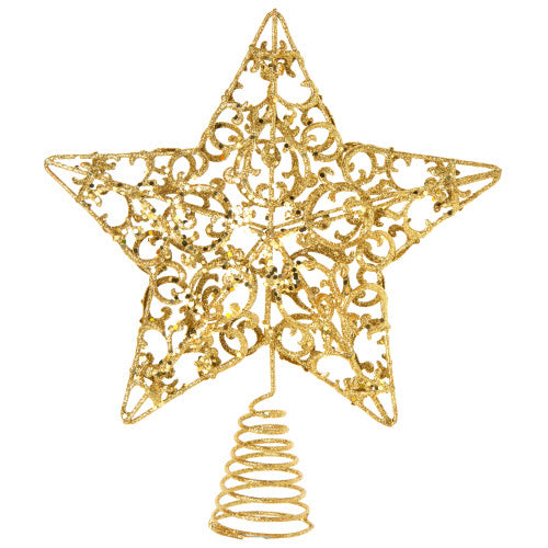 Gold Glittered Wire Scrolls Christmas Tree Topper