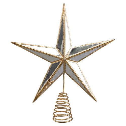 Mirrored Glass Gold Star Tree Topper